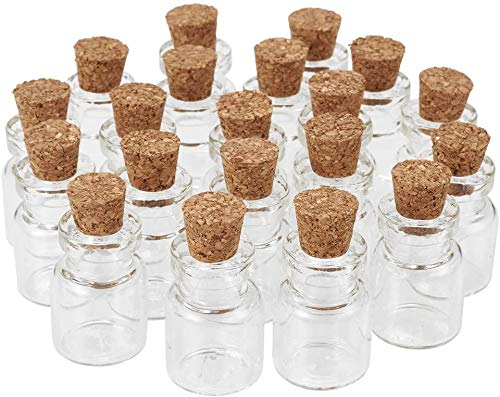 Annfly 20 mini tarros de cristal con tapones de corcho, botellas transparentes para cosméticos, para manualidades, decoración, bodas, joyas, fiestas, 20 ml