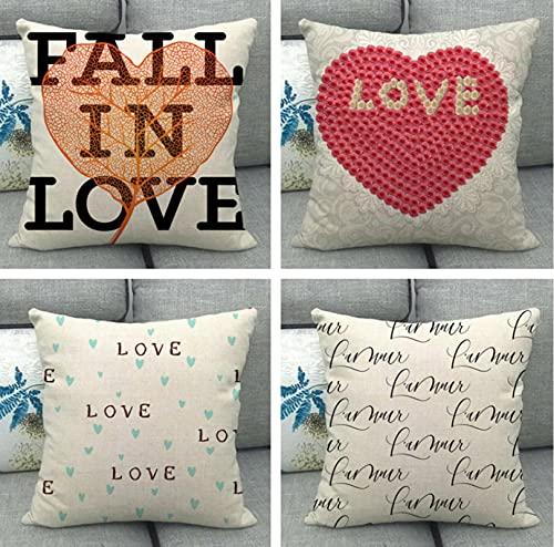 GjbCDWGLA Pretty Love Print Cotton Linen Square Throw Pillow Funda Set 4 Uds Fundas De Cojín 45X45Cm Sala De Estar Sofá Cama
