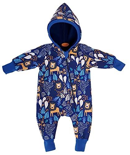 Lilakind Mono para bebé con capucha Softshell León hojas azul marino tallas 56/62-116/122 – Fabricado en Alemania, azul marino, 74 cm