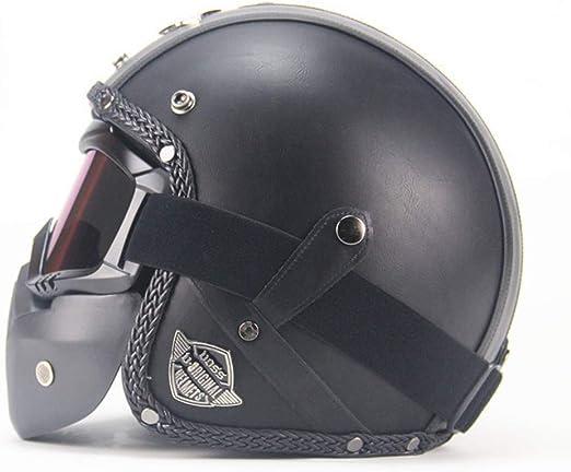 scooter universel pour moto demi casque ouvert synth/étique et lunettes UV default Noir Demi casque ouvert en cuir