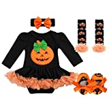 FYMNSI Infant Baby Girl Halloween Outfit Newborn Trick or Treat My First Halloween Tutu Set Pumpkin Mask Witch...