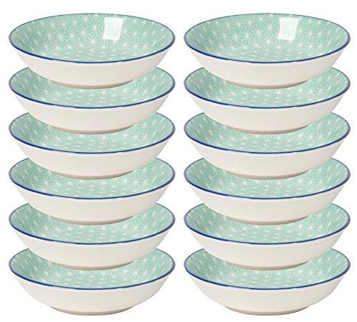 Now Designs Aqua Stars Dip Bowls (Set of 12), White/Light Blue