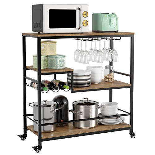 HOMECHO Bar Serving Cart - 35.4' L x15.7 W x37.5 H, Industrial Kitchen Cart with Wheels, Mobile Wine Beverage Cart with Wine Rack/Glass Holder, 4-Tier Storage Shelves, Rustic Brown