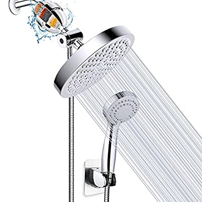 Filtered Shower Head, High Pressure Rainfall Shower Head/Handheld Shower Filter Combo, Luxury Modern Chrome Plated with 60'' Hose Anti-leak with Holder