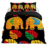 Eslifey - Juego de Funda de edredón de 3 Piezas con diseño de Elefantes y Hojas de Palma, 150 x 200 cm, California King 106 x 92 \ 20 x 36 in