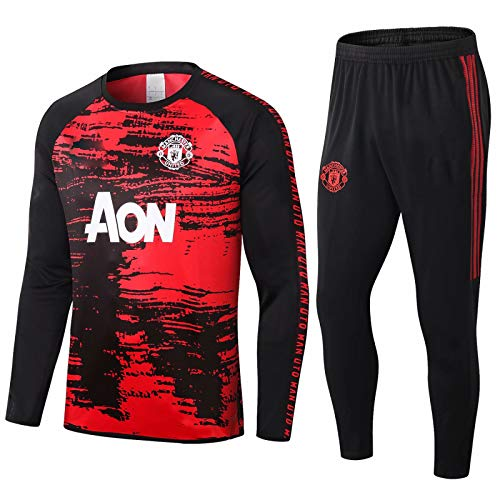 QJY Manchester United Football Sportswear Sportswear a Maniche Lunghe Mezza Zip Top + Pants 2 Ufficiale Regalo Calcio Suit Football Club Training Tuta (Size : M)
