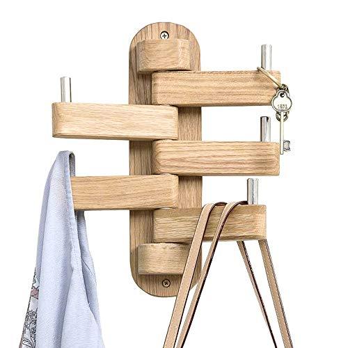 INMAN Coat Hooks for Wall, Walnut Wood Wall Hooks with 5 Swivel Foldable Arms, 12'' Length Wall Coat...