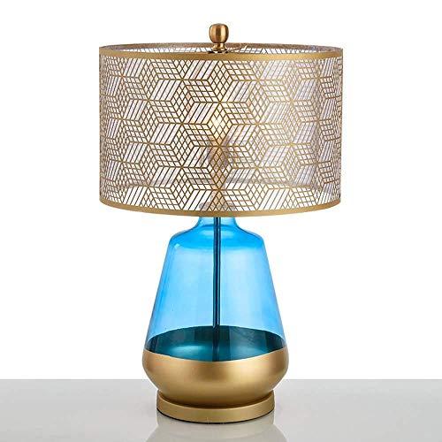 VIWIV Lámpara de escritorio dormitorio mesa de café azul hueco lámpara de mesa simple lámpara de mesa personalidad luz de lujo sala de estar diseñador modelo sala de exposición 40x66cm