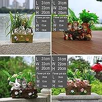 庭の飾りシミュレーション動物の鉢植えの植木鉢防水樹脂の庭の彫像のための防水樹脂の彫像芝生の装飾工芸品ギフト(色:b、サイズ:31 * 20cm) (Color : C, Size : 31*22*20cm)