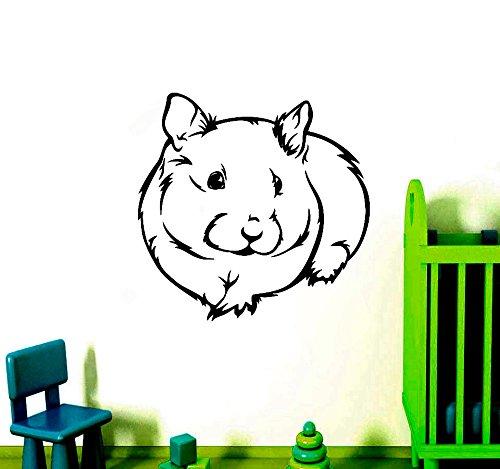 hetingyue Dieren, serie Hamster, decoratief, vinyl, schattig, zelfklevend, voor baby, tuin, hamster, hoofd, wand, kunstdruk