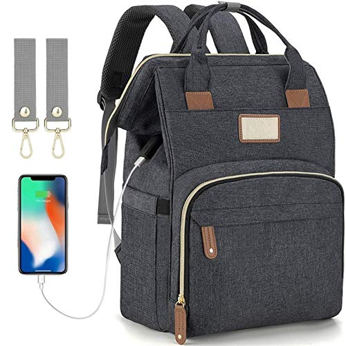 Baby Bottle Diaper Backpacks, Mommy Baby Bag, Waterproof Oxford Style Large Capacity Diaper Bag, with Portable Changing Table and 2 Pieces Baby Carriage Hooks (Dark Gray) (Color : Dark Gray)