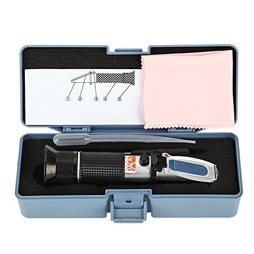 LAOYE Frostschutz Refraktometer Handrefraktometer Ethylenglykol Propylenglykol Kühlflüssigkeit Prüfer - Refraktometer für Kfz Kühlwasser, Scheibenwasser, Batteriesäure und AdBlue mit Pipette