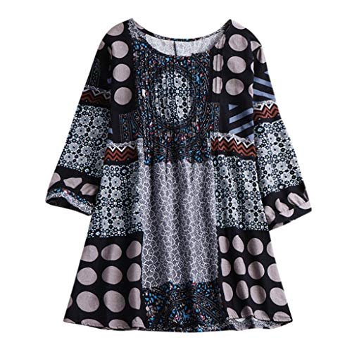 Boomboom 2019 Autumn National Style Cotton Linen Shirts Women Plus Size Tunic Tops Blouse (3XL, A-Navy)