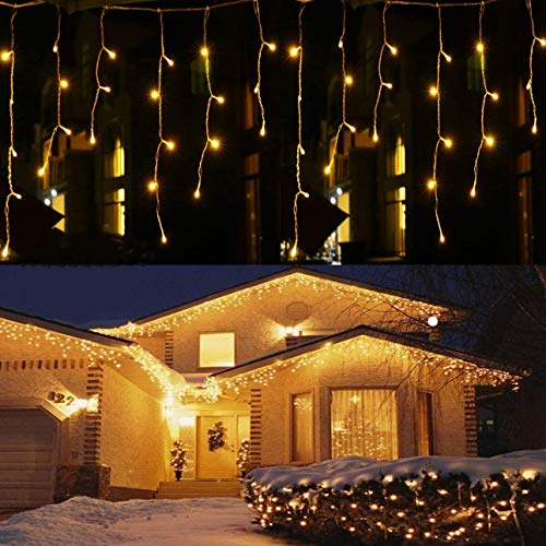 HUXICUI 2-Packs 96 LED 10 Ft Window Curtain Icicle String Lights for Wedding Party Home Garden Bedroom Outdoor Indoor Wall Decorations, Warm White