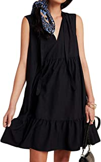 Women's Casual V Neck Tie Front Sleeveless Tiered Mini Dress