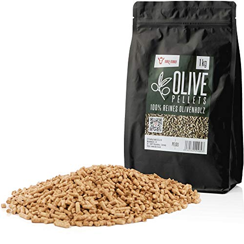 BBQ-Toro Olive Pellets aus 100% Olivenholz | 1 kg | Olivenpellets für Grill, Smoker, Pellet-Pizzaofen und Heizungsanlagen | Grillpellets
