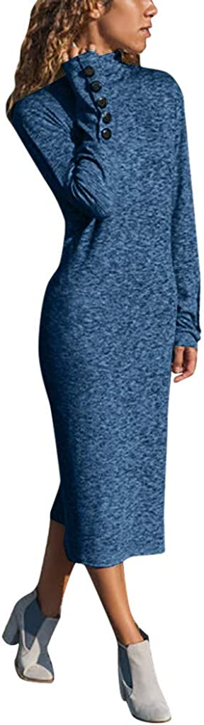 NREALY Dress Womens Casual High Collar Long Sleeve Button Solid Color Dress