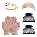 STfantasy 4 Pack Wig Caps Elastic Mesh Open End Wig Net Hairnet Snood