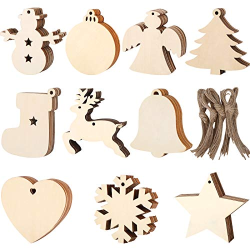 Wooden Ornaments – 100 pcs Ornament Decoration Kit for the Christmas Tree – Mini Wooden Decorations with Hanging Cords – Heart, Bell, Angel, Tree, Star, Snowflake, Snowman Assortment Pack