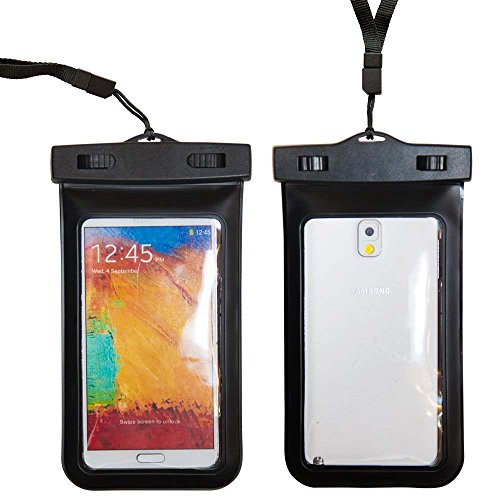 """Importer520 Waterproof Case for Apple iPhone 6 6 Plus Samsung Galaxy S5, Samsung Note 3 / 2, Samsung Galaxy MEGA, HTC One M8 (2014), HTC One Max, LG G2 G3, Nokia Lumia 1520, Motorola Droid Ultra - Also fits other Large Smartphones up to 6.3"""" screen size - IPX8 Certified to 100 Feet (Black)"""