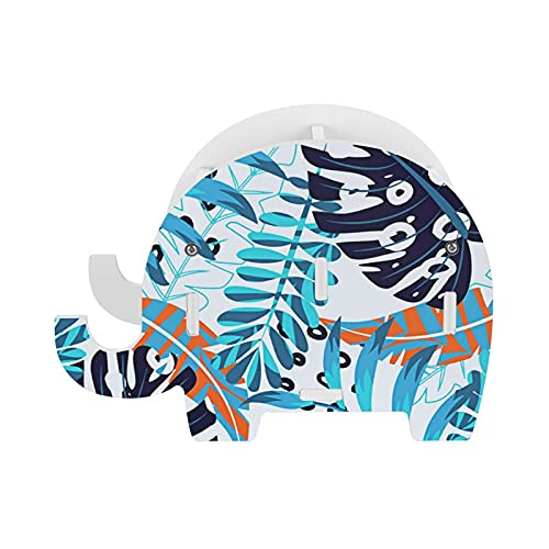 Soporte para bolígrafos de verano con hojas azules, organizador de escritorio con soporte para teléfono, soporte para lápices, diseño de elefante