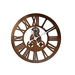 Adeco Antique-Look Distressed Bronze Iron Wall Hanging Clock, Roman Numerals, Gear Detail Home Decor, Black, Roman