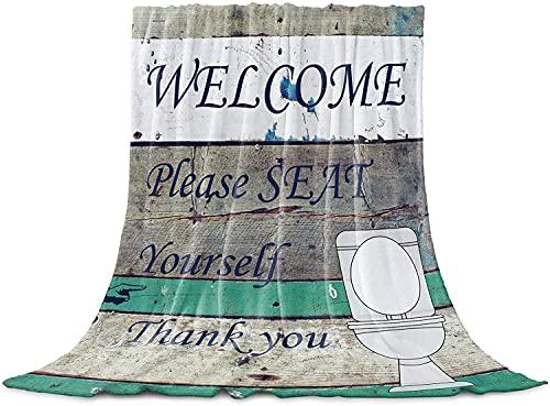 BONRI Welcome Toilet Please Seat Yourself - Manta de franela de forro polar de microfibra para sofá, cama, sofá, rayas de madera, grano de 40 x 50 pulgadas