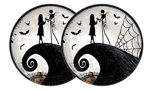 Nightmare Before Christmas Halloween Paper Plates - Jack Skellington & Sally Party Plates - 9' Diameter (2) 8ct = 16ct