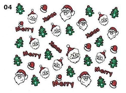 Xmas Paillettes Nail Art Sticker - 04-joyeux Noel