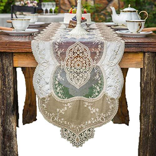 Tafelloper Luxury Europese Lace Overlay geborduurd met Wedding Party tafellopers Tafelkleed-4.17 (Size : 40 * 220cm)