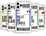Coque Silicone Bumper Souple IPHONE X/XS - Billet d'avion Voyage Paris, Londres, Barcelone, Istanbul...