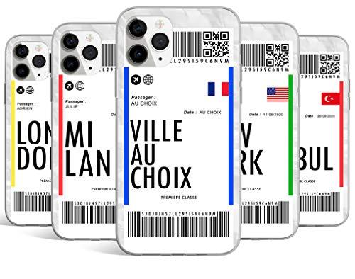 Coque Silicone Bumper Souple IPHONE XR - Billet d'avion Voyage Paris, Londres, Barcelone, Istanbul Personnalisable avec Votre Ville ou Club, NOM et Date au Choix Swag TPU Case + Film de Protection