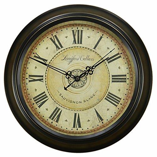 Bonne action Horloge murale Moderne Horloge Murale Suspendue Mute Quartz Ronde Horloge En Métal De Style Européen Rétro Horloge Murale Salon Quiet Horloge Murale ( Couleur : 16 inches/40.5cm )