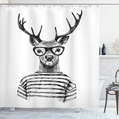 ABAKUHAUS Hirsch Duschvorhang, Rentier Kopf menschlicher Hipster, Moderner Digitaldruck mit 12 Haken auf Stoff Wasser & Bakterie Resistent, 175 x 200 cm, Holzkohle grau weiß