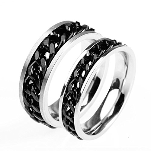 Daesar 2 x Eheringe Edelstahl Ringe für Paar mit Schwarz Kette Rund Partnerring Herren Damen Ringe Silber Damen Gr.54 (17.2) & Herren Gr.52 (16.6)