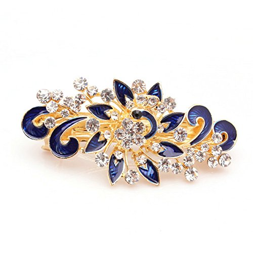 Five Season 1PC Piques et Epingles a Cheveux Crystal Accessoires Coreen Forme Paon Femme de Mode 8,5 *4cm Bleu