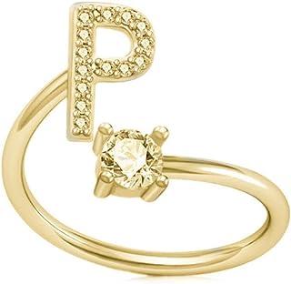 حلقات حرف مكعب من الزركونيوم الأولي A-Z 26 حرف حلقة مفتوحة 14k مطلية بالذهب خواتم قابلة للتعديل للنساء الفتيات في سن المرا...