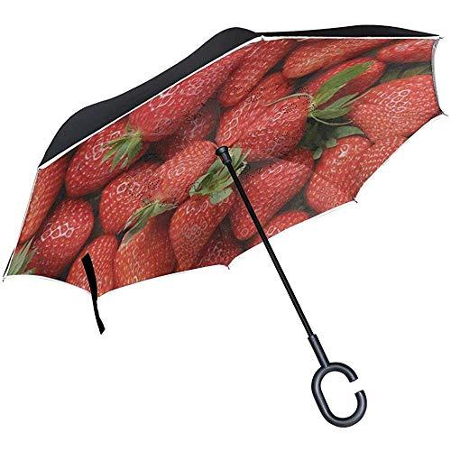 Umgekehrter Regenschirm Fresh Red Strawberry Fruit Umkehrschirm UV-Schutz Winddicht für Auto Regen Sonne Outdoor Schwarz