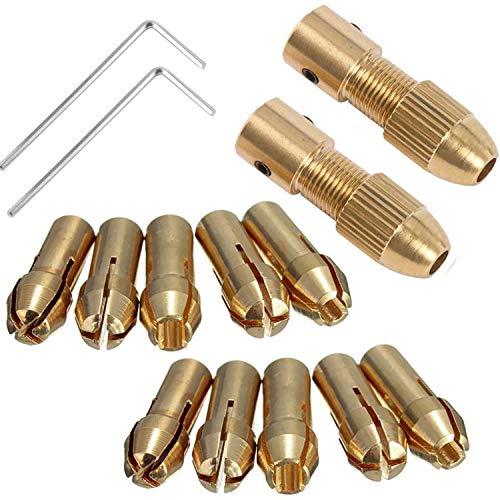 CTRICALVER 小型電気ドリルチャック、マイクロツイストドリルチャックセット、アレンレンチの2.0mm銅カバー付きモーターシャフト(2.0mm X 2セット)