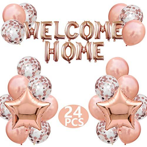 FACHY Willkommen Zuhause Banner Welcome Home Ballon mit Stern Pailletten Luftballons für Hause Familie Partei Dekoration(24 Stück) (Champagner)