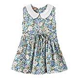Moneycom2-7Y bébé Fille Floral Collier Princesse Jupe vêtements décontractés Enfants sans Manches Floral Princesse Jupe Vacances Style Robe Bleu Clair(4-5 Ans)