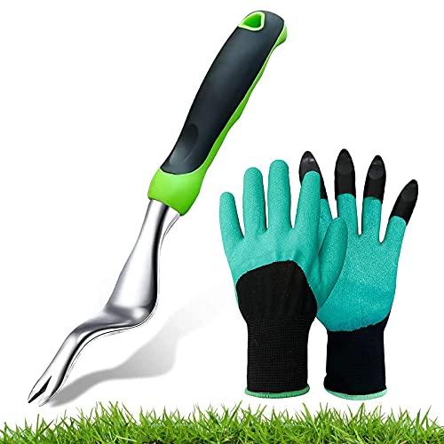 LUBENKIS Weed Puller & Gardening Gloves - Dandelion Removal Tool Stainless Garden Hand Weeder Tool with Ergonomic Handle for Garden Lawn Yard Farmland Transplant Planting Care Gardening Bonsai