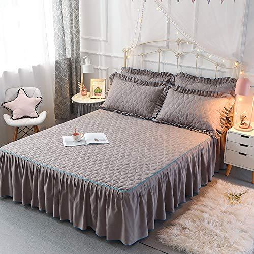 Gesteppter Bett Rock, Bett Volant Baumwolle Tagesdecke Mit rüschen Hotel qualität Faltenresistent und ausbleichen beständig-grau 200x220cm/79x87inch