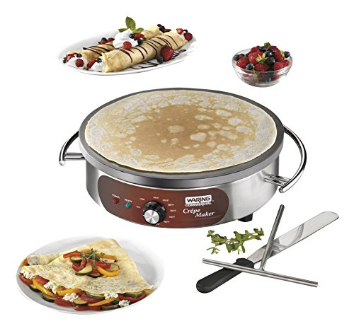 Waring Commercial WSC160X 16' Electric Crepe Maker, Cast Iron Cooking Surface, Stainless Steel Base, Includes Batter Spreader and Spatula, 120V, 1800W, 5-15 Phase Plug