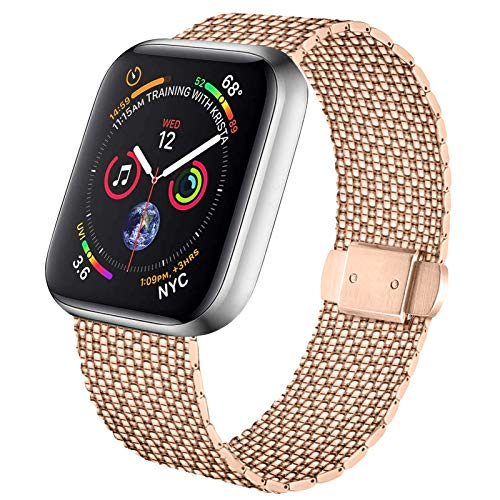 Meliya Cinturino Compatibile per Apple Watch Cinturino 44mm 42mm 40mm 38mm Series 6 5 4 3 2 1 SE, Cinturino Orologio in Maglia Milanese a Acciaio Inossidabile Cinturini in Metallo