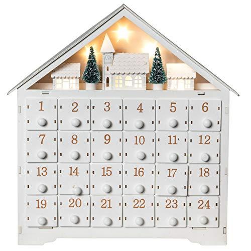 Wichtelstube Collection - Calendario de Adviento para rellenar, pueblo invernal blanco, XL, madera iluminada