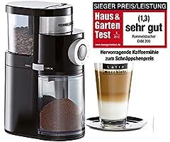 ROMMELSBACHER Kaffekvarn EKM 200 – aromavänlig skivarslip, slipgrad justerbar från grov till extra fin, 2-12 portioner, fyllningsmängdbönbehållare 250 g, 110 watt, svart
