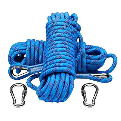 YOMEGO 10mm Outdoor Climbing Rope Nylon Heavy Duty Static Rope with 2 Safety Carabiners in 10M(32ft) 20M(64ft) 30M (96ft) for Escape, Rescue, Camping, Climbing
