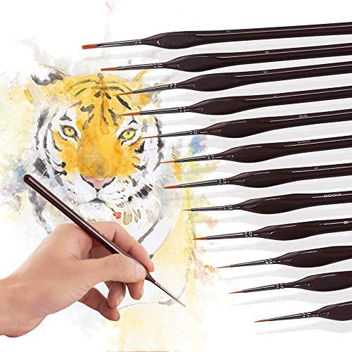 Aibecy H /& B Detail Paint Brush Set 12 piezas de pinceles de pelo de nailon en miniatura con 1 bolsa y 1 soporte para pintura acr/ílica//acuarela//gouache///óleo art/ística de acabado fino