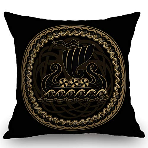 SSOIU Throw Pillows Cover Isolated Boat Viking Drakkar History Ship Sailing On Vintage Adventure Northern Black Celtic Colored Cotton Linen Decorative Throw Pillow Case Square 18' X 18'